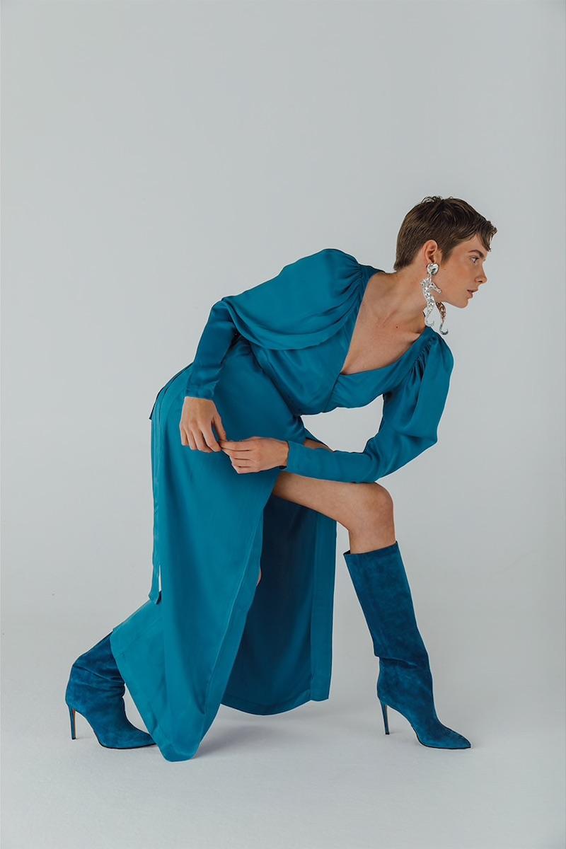 Rotate Satin Viscose Midi Dress