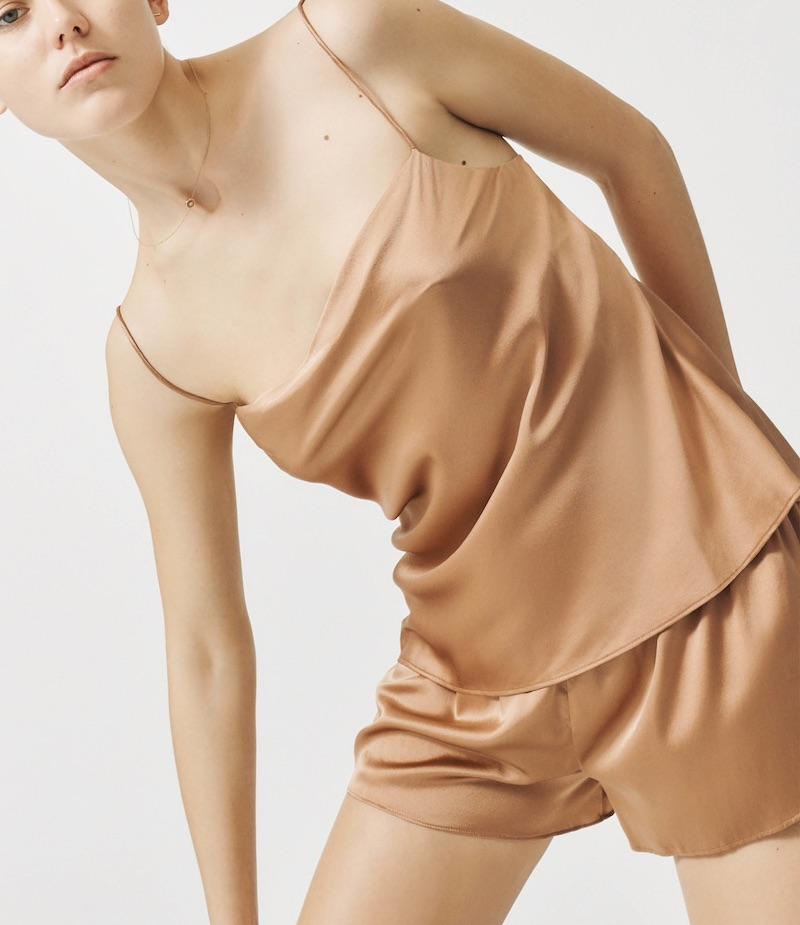 Skin Ranya Silk-Blend Cowlneck Cami
