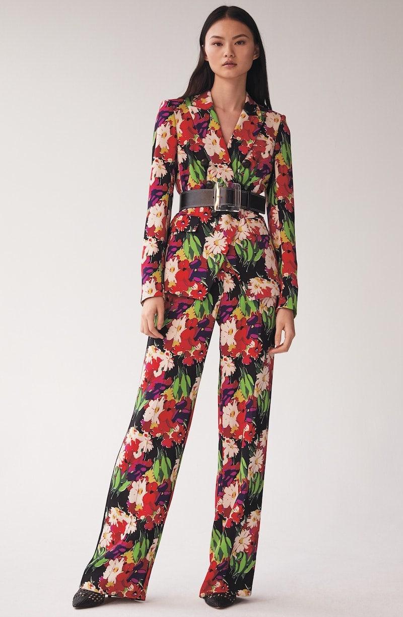 Veronica Beard Grigore Floral Print Wide Leg Pants