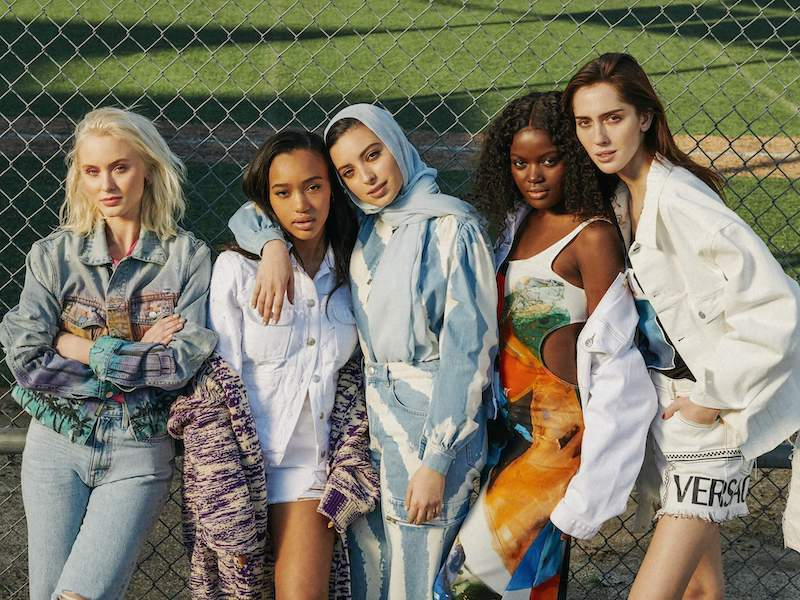 Versace Frayed Printed Denim Shorts