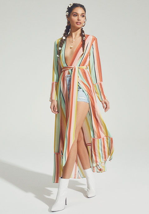 we are LEONE Contrast Maxi Cardigan Dress