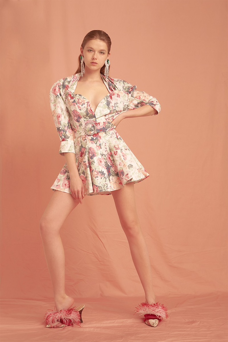 Attico Printed Cotton Gabardine Mini Dress