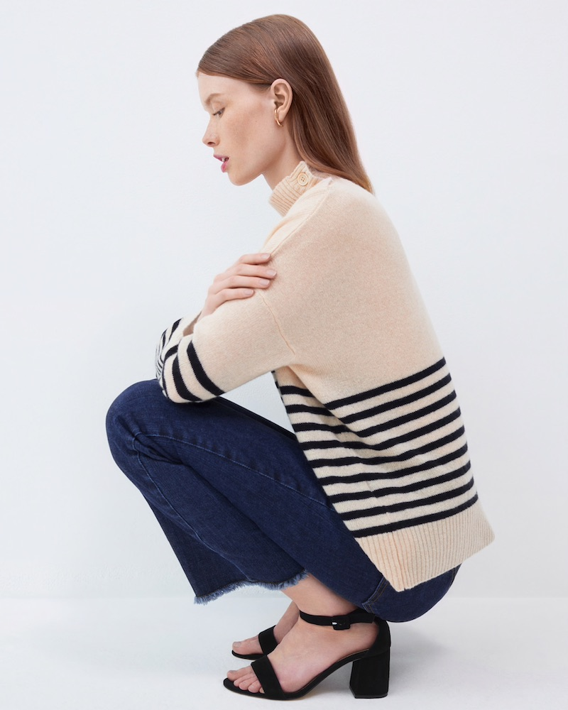 Barneys New York Button-Detailed Striped Cashmere Sweater