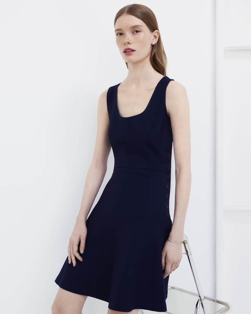 Barneys New York Button-Side Virgin Wool A-Line Dress