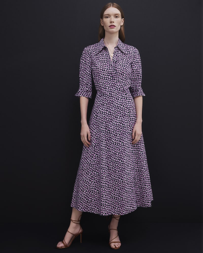 Barneys New York Doodle-Heart-Print Cotton Poplin Midi-Dress