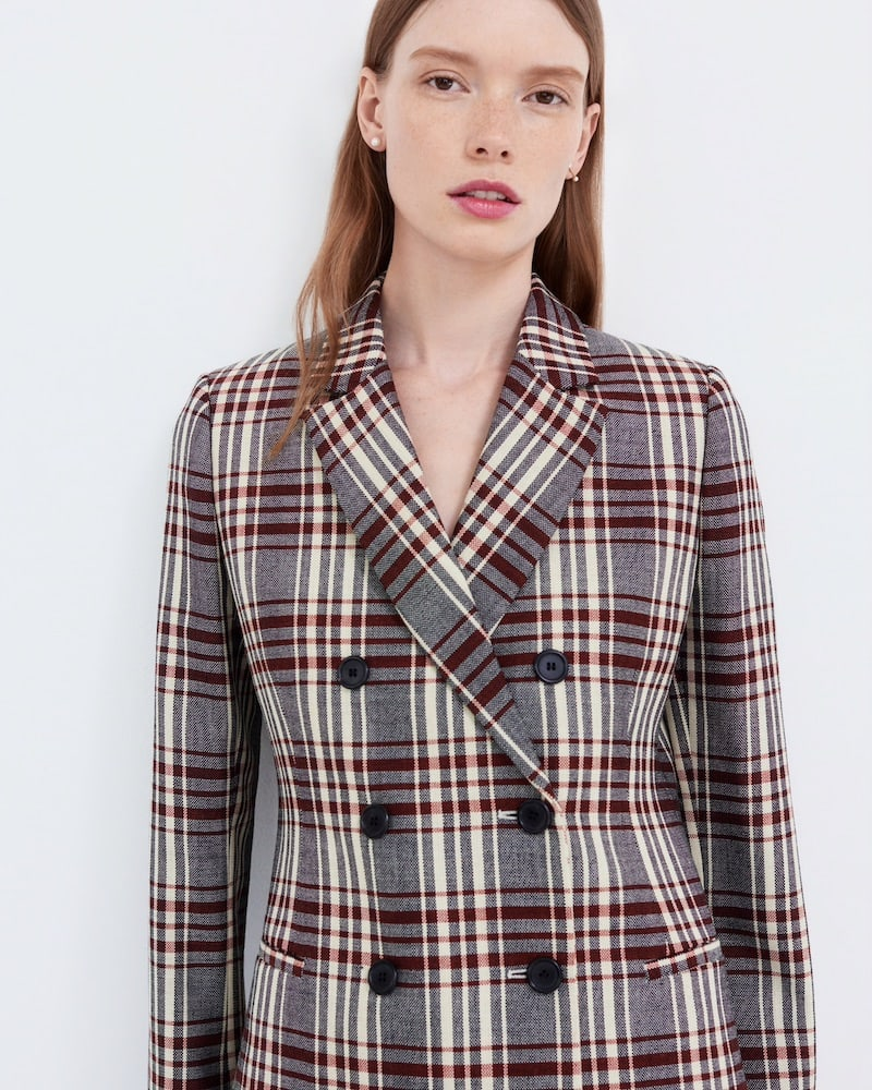 Barneys New York Plaid Wool Double-Breasted Blazer
