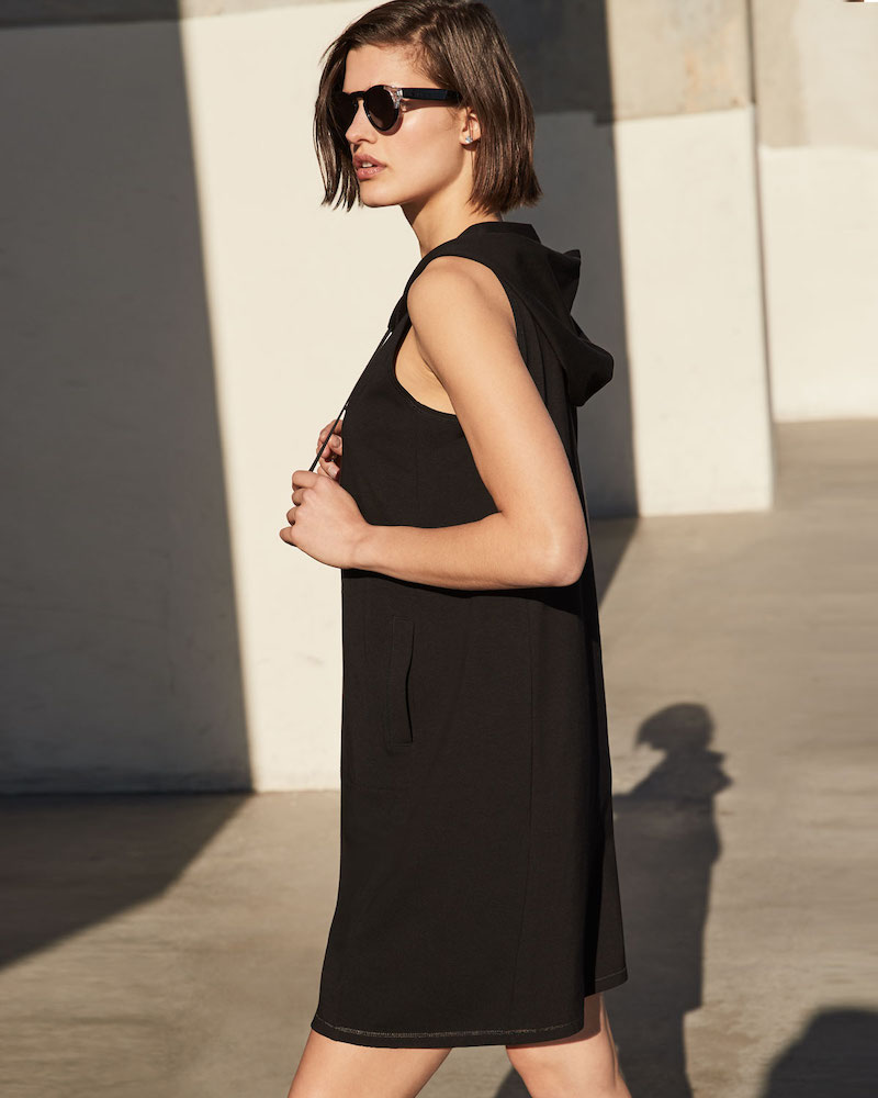 Eileen Fisher Hooded Sleeveless Cotton Jersey Dress