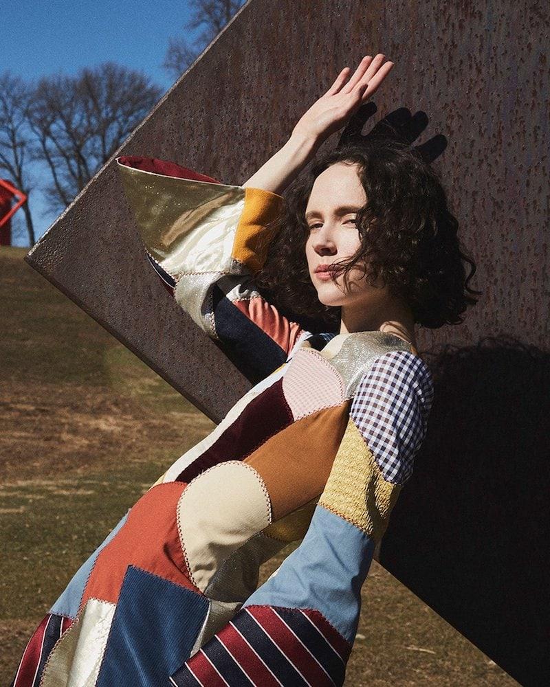 Françoise Patchwork Trumpet-Sleeve Midi Dress