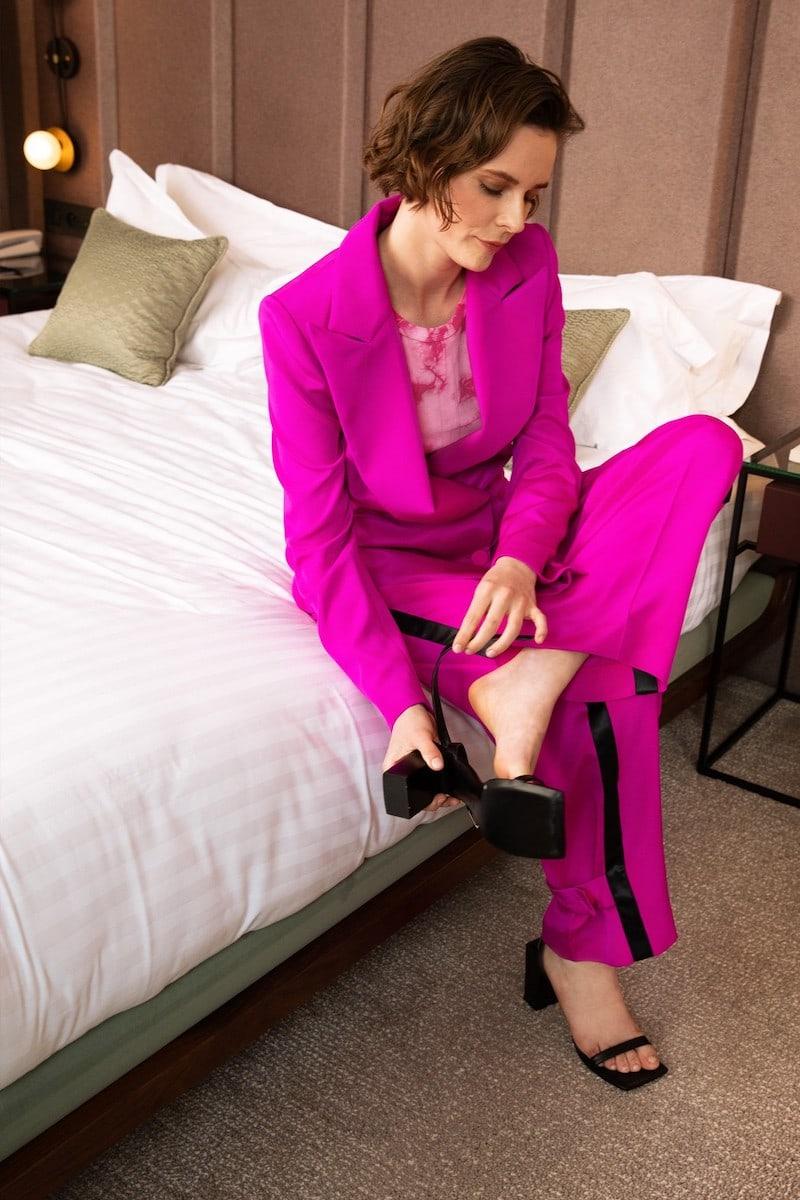 Koché Silk High-Waisted Pants
