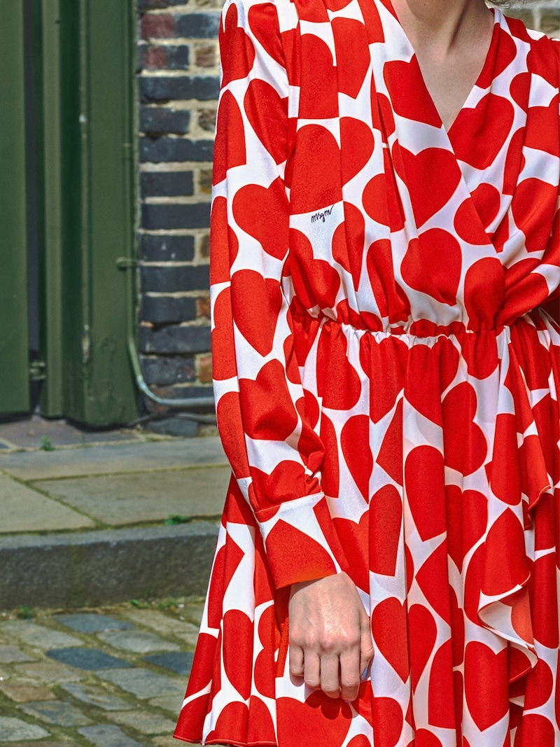 MSGM Heart Printed Crepe Mini Dress