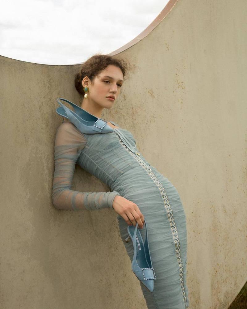 Manolo Blahnik 50mm LVR Exclusive Dolores Suede Pumps in Light Blue