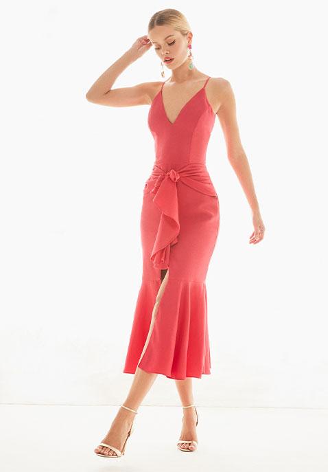 PatBo Bo Ruffle Midi Dress