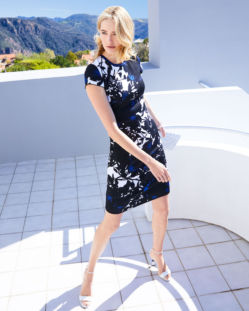 St. John Collection Graphic Floral Jacquard Short-Sleeve Dress With Back Slit