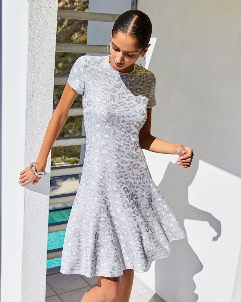 St. John Collection Sequin Animal Jacquard Fit-&-Flare Dress