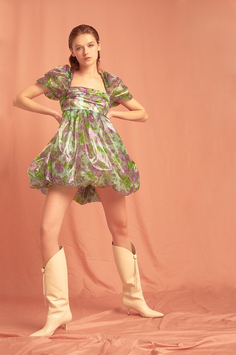Vivetta Floral Print Organza Mini Dress
