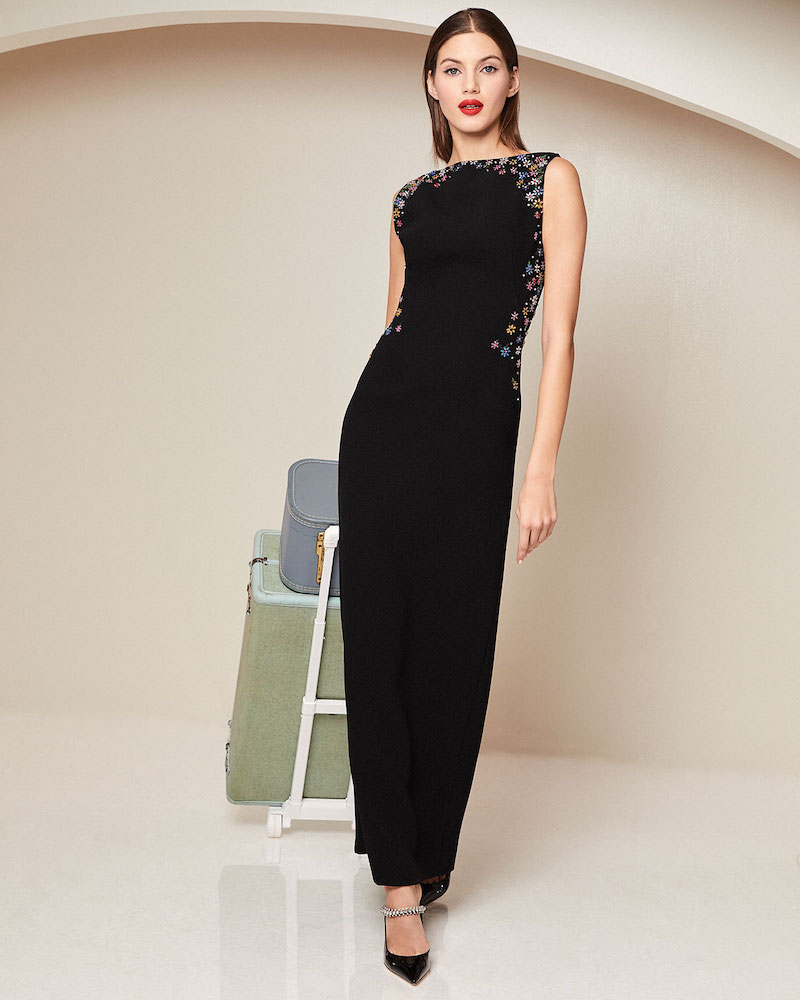 Zac Posen Embroidered Bateau Neck Sleeveless Gown
