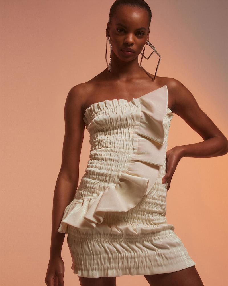 Area Ruched Cotton-Blend Lamé Strapless Minidress