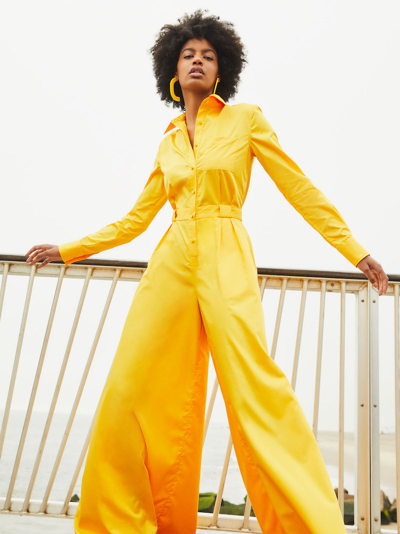 Brandon Maxwell Poplin Wide Leg Button Down Jumpsuit