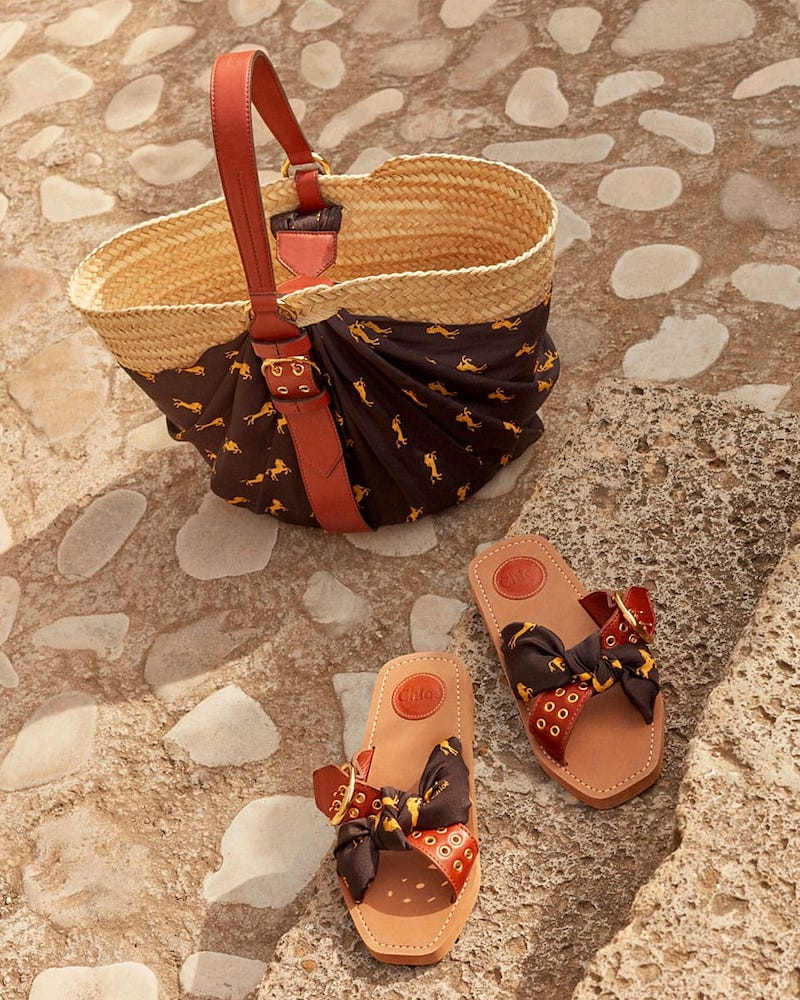 Chloé Little Horse-Print Jersey and Leather Sandals
