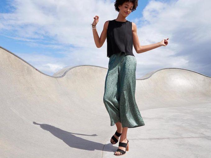 Eileen Fisher Dash-Print Wide-Leg Crop Pants
