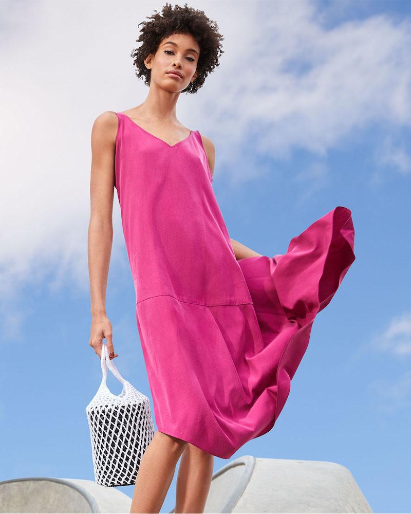 Eileen Fisher Sandwashed V-Neck Sleeveless Asymmetric Shift Dress