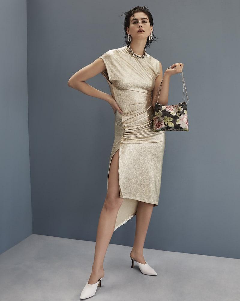 Paco Rabanne Asymmetric Ruched Metallic-Effect Midi Dress