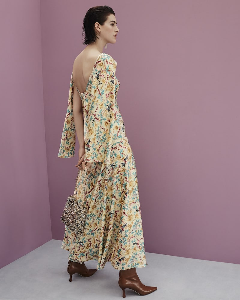 Paco Rabanne Floral-Print Satin Dress