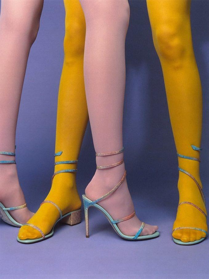 René Caovilla 105mm Rainbow Embellished Satin Sandals