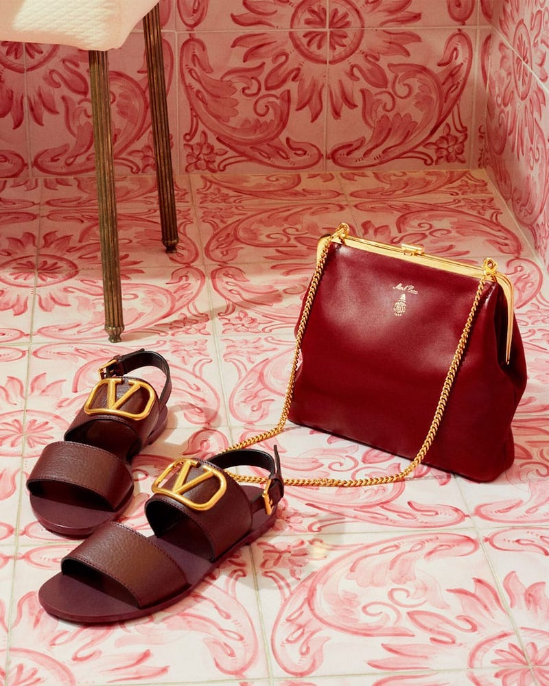 Valentino Go Logo Leather Sandals