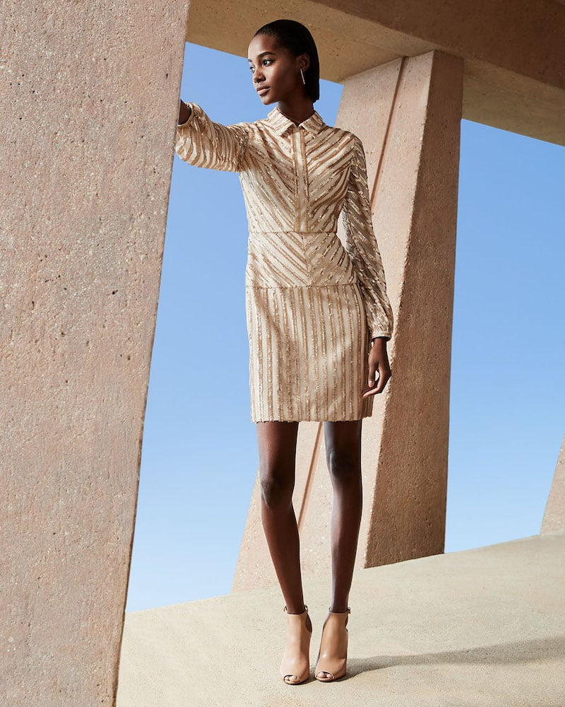 Aidan by Aidan Mattox Sequin Stripe Long-Sleeve Cocktail Dress