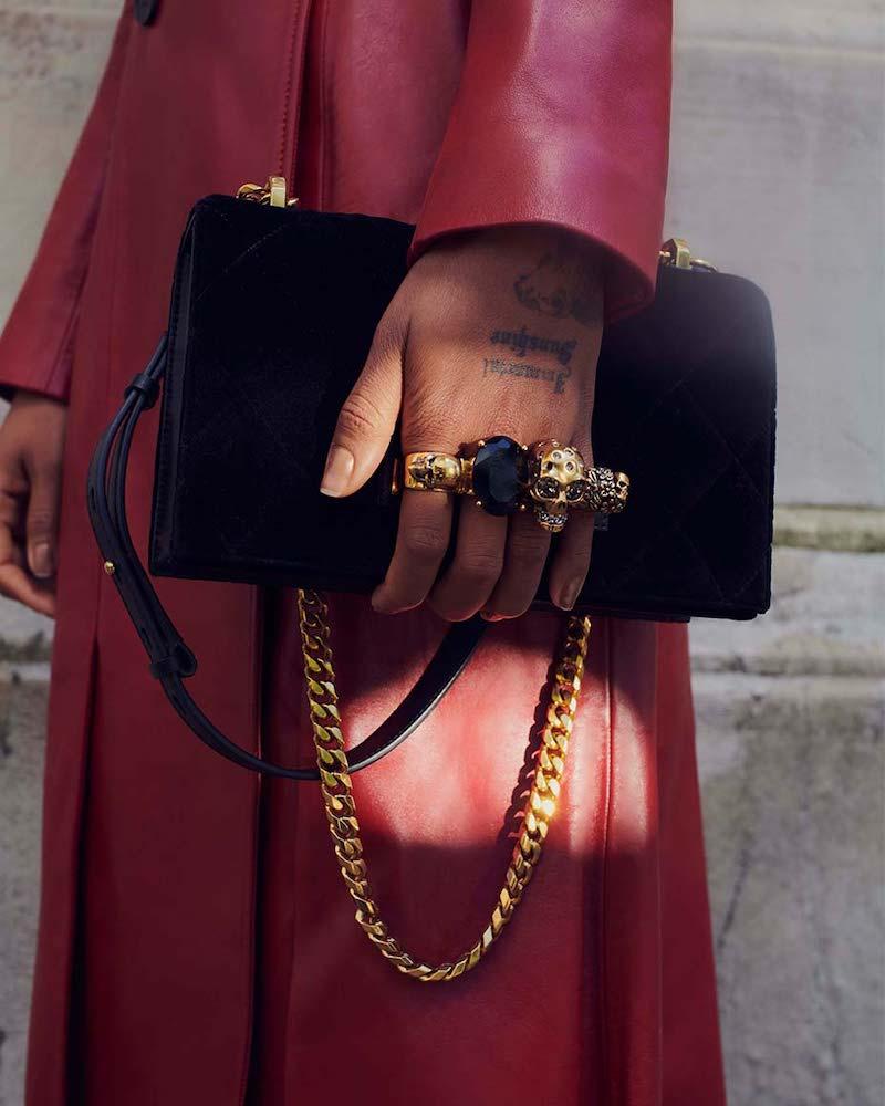 Alexander McQueen Jeweled Velvet Satchel Bag