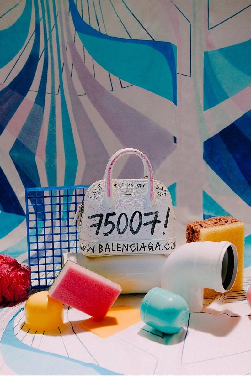 Balenciaga XXS Ville Graffiti Grained Leather Bag