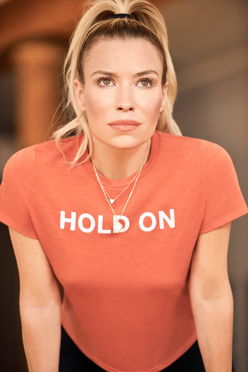 """Barneys New York x Tracy Anderson """"Hold On"""" Jersey Crop T-Shirt"""