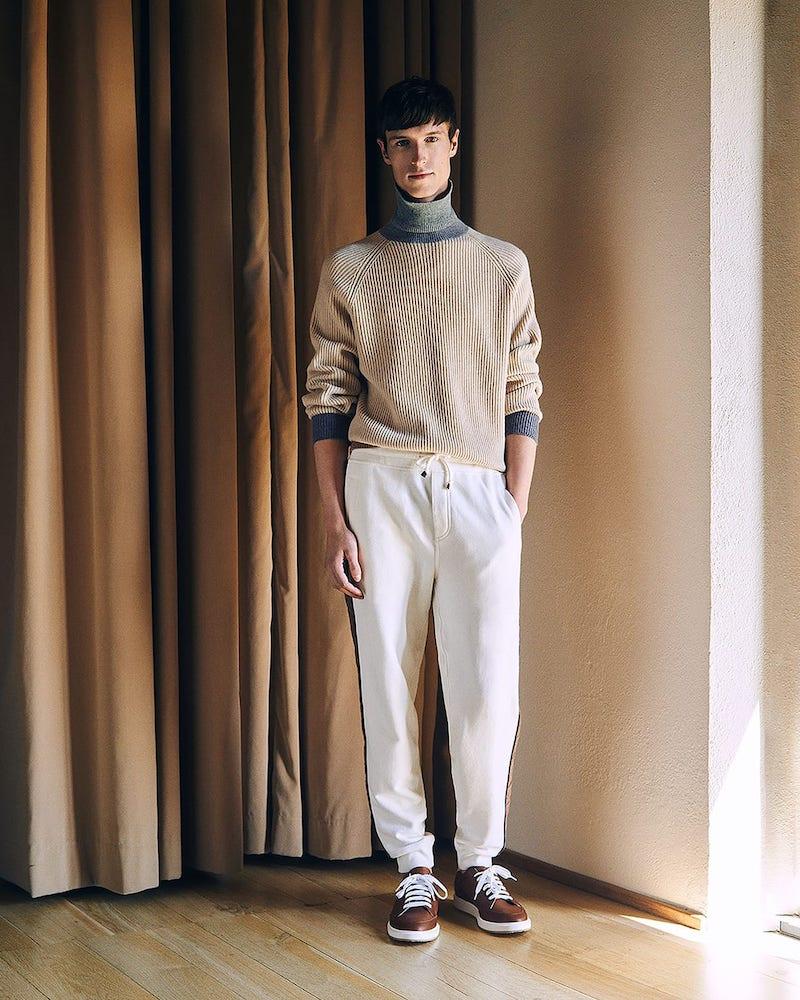 Brunello Cucinelli Contrast-Edge Roll-Neck Cashmere Sweater