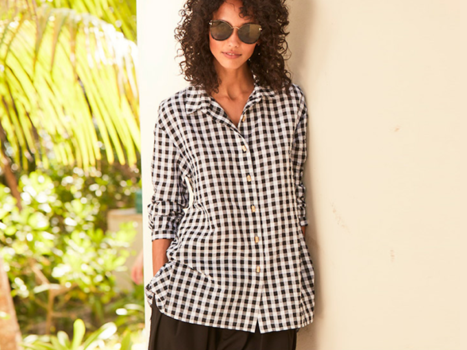 DUBGEE by Whoopi Gingham Seersucker Button-Front Easy Shirt