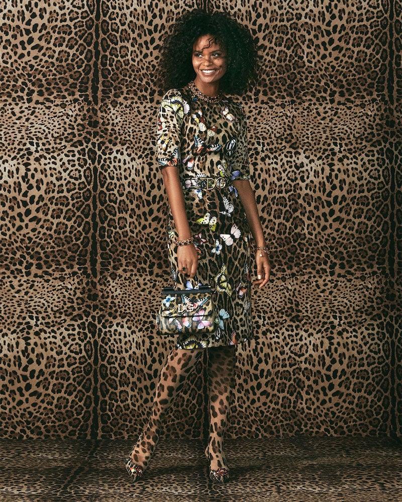 Dolce & Gabbana 3/4-Sleeve Leopard & Butterfly-Print Charmeuse Top