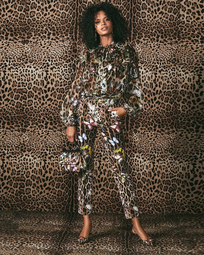 Dolce & Gabbana Leopard Butterfly-Print Chiffon Tie-Neck Blouse