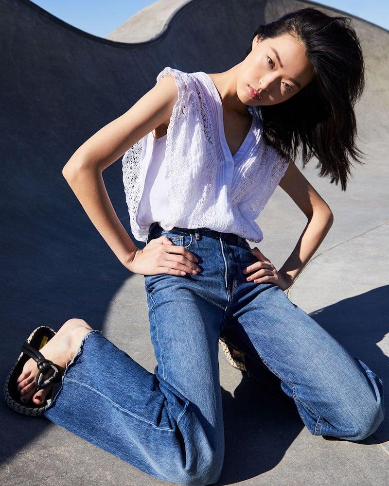 FRAME Heritage Wide-Leg Raw-Edge Jeans