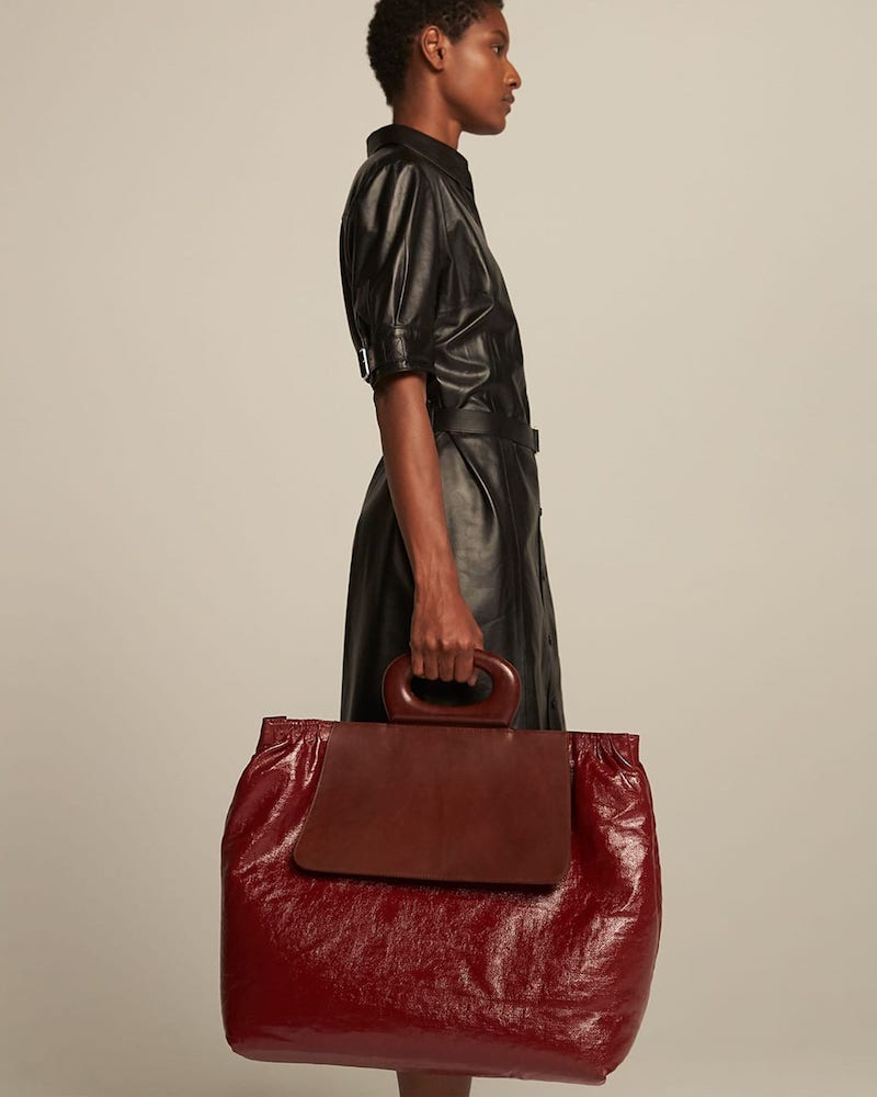 Lemaire Cabas Large Coated Linen-Leather Tote Bag