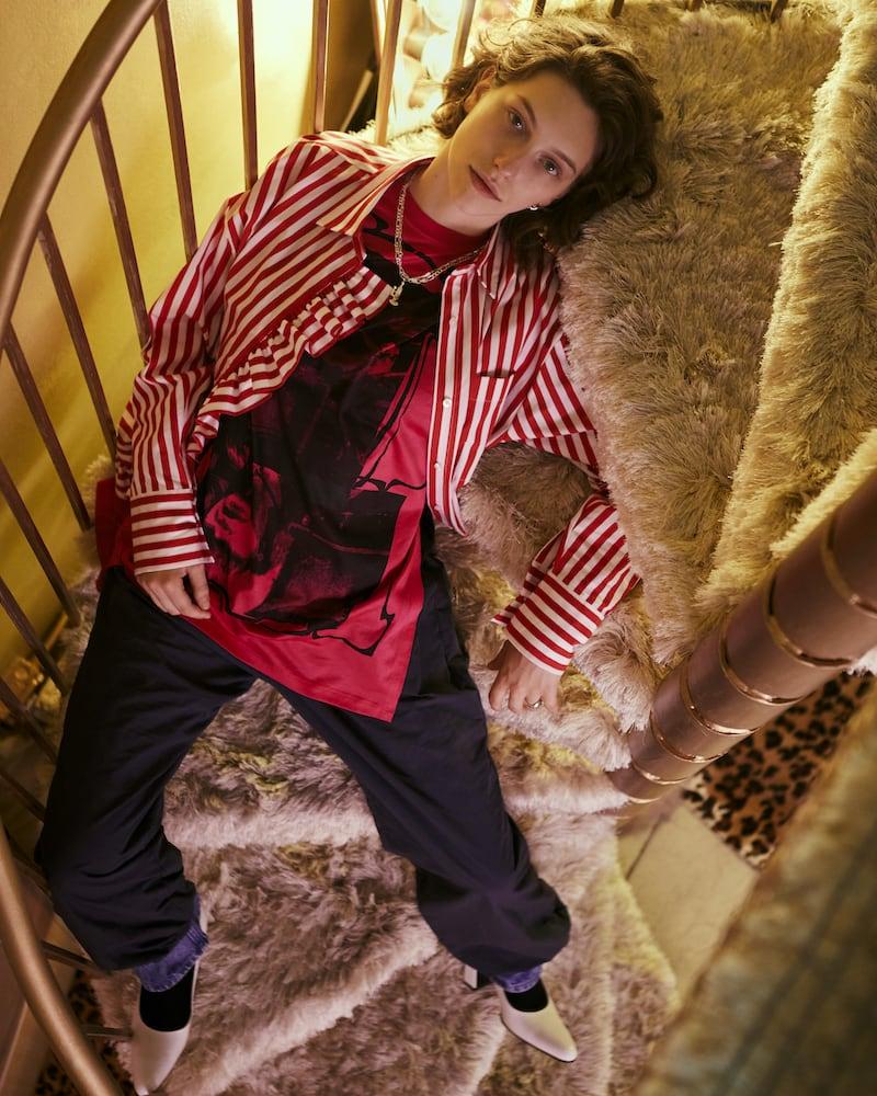 MSGM SSENSE Exclusive Red & White Stripe Shirt Dress