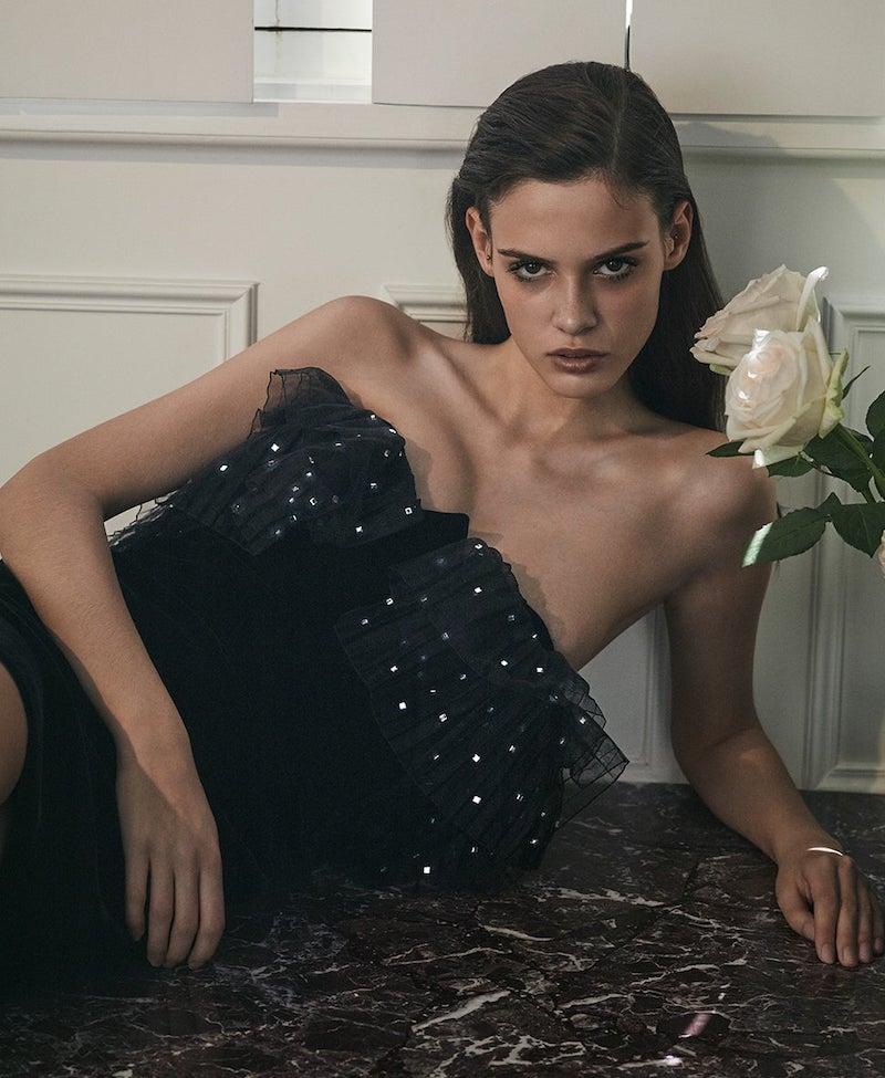 Saint Laurent Strapless Tulle-Trim Velvet Mini Dress