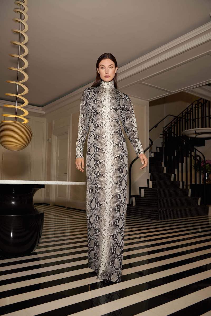 Akris Python-Print Silk Stretch Mock-Neck Gown