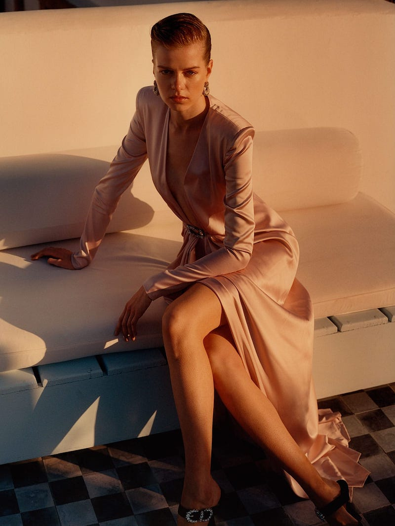 Alexandre Vauthier Crystal-Buckle Silk-Blend Gown