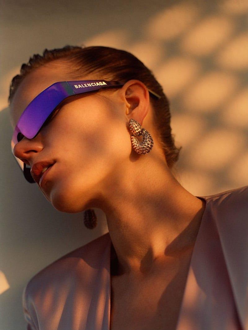 Balenciaga Reflective Shield Acetate Sunglasses