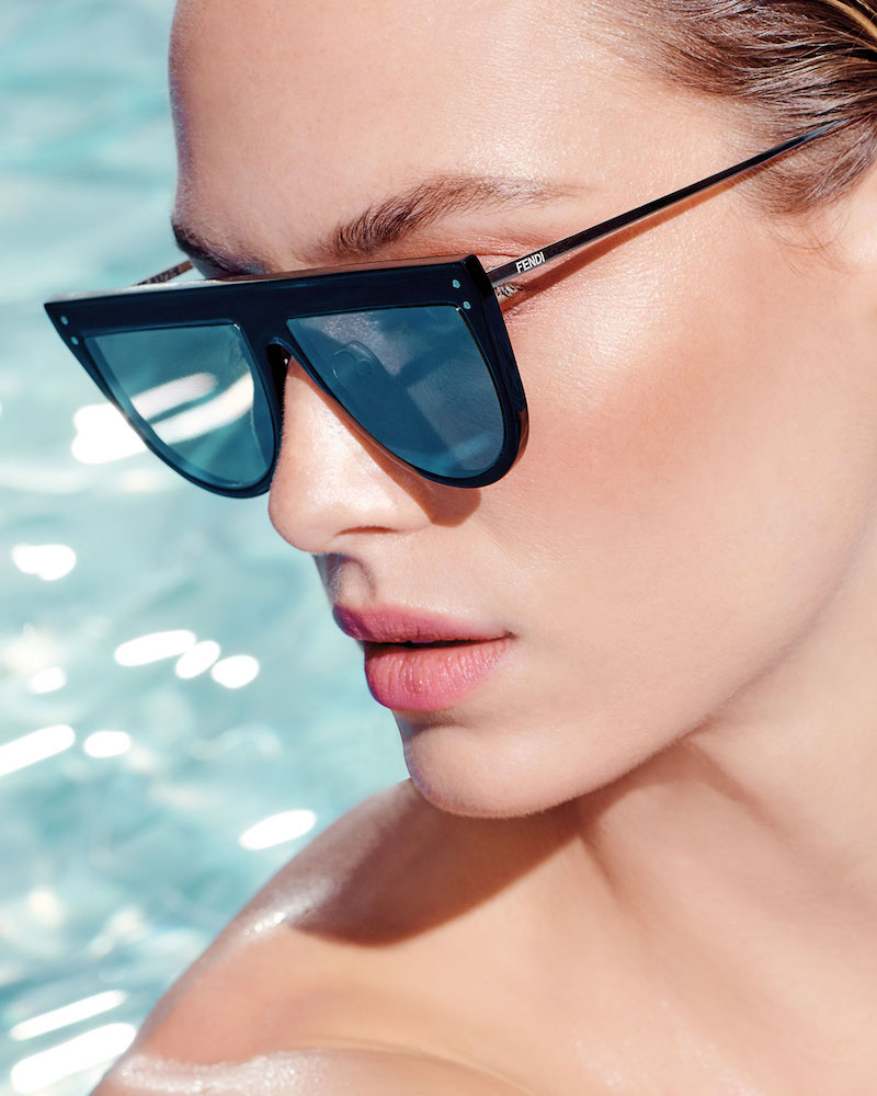 Fendi Flat-Top Mirrored Shield Sunglasses