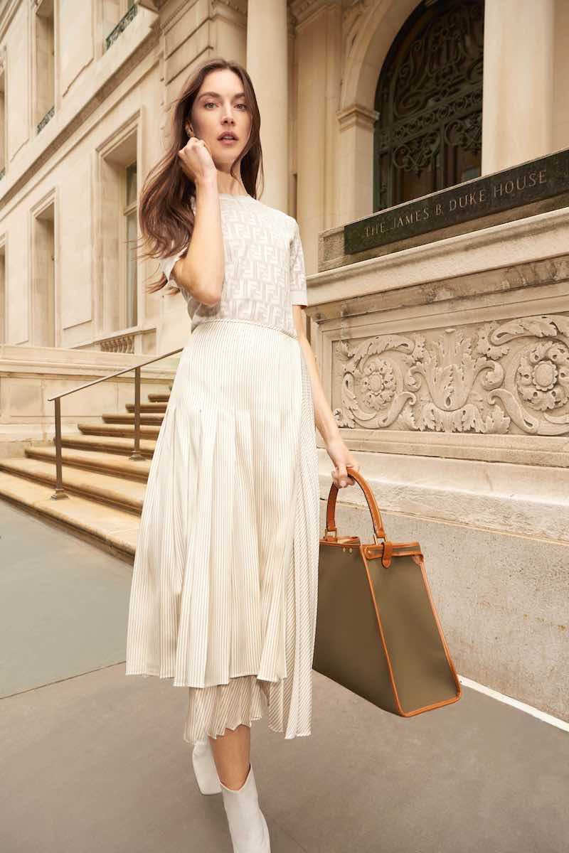 Fendi Jacquard Short-Sleeve Knit Top