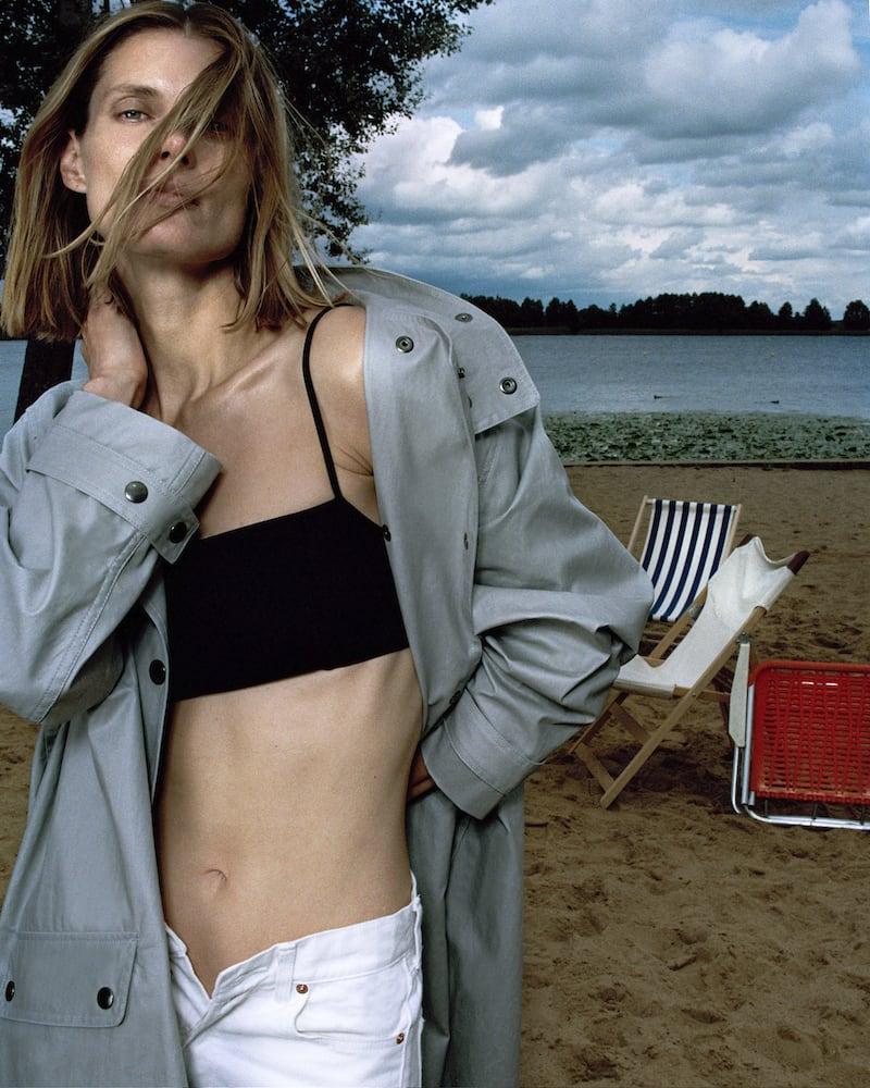 GANNI Seersucker Bikini Top