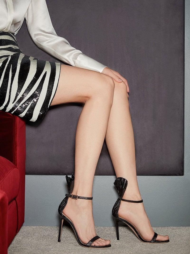 Gianvito Rossi Lamé 105 plissé-Cuff Stiletto Sandals