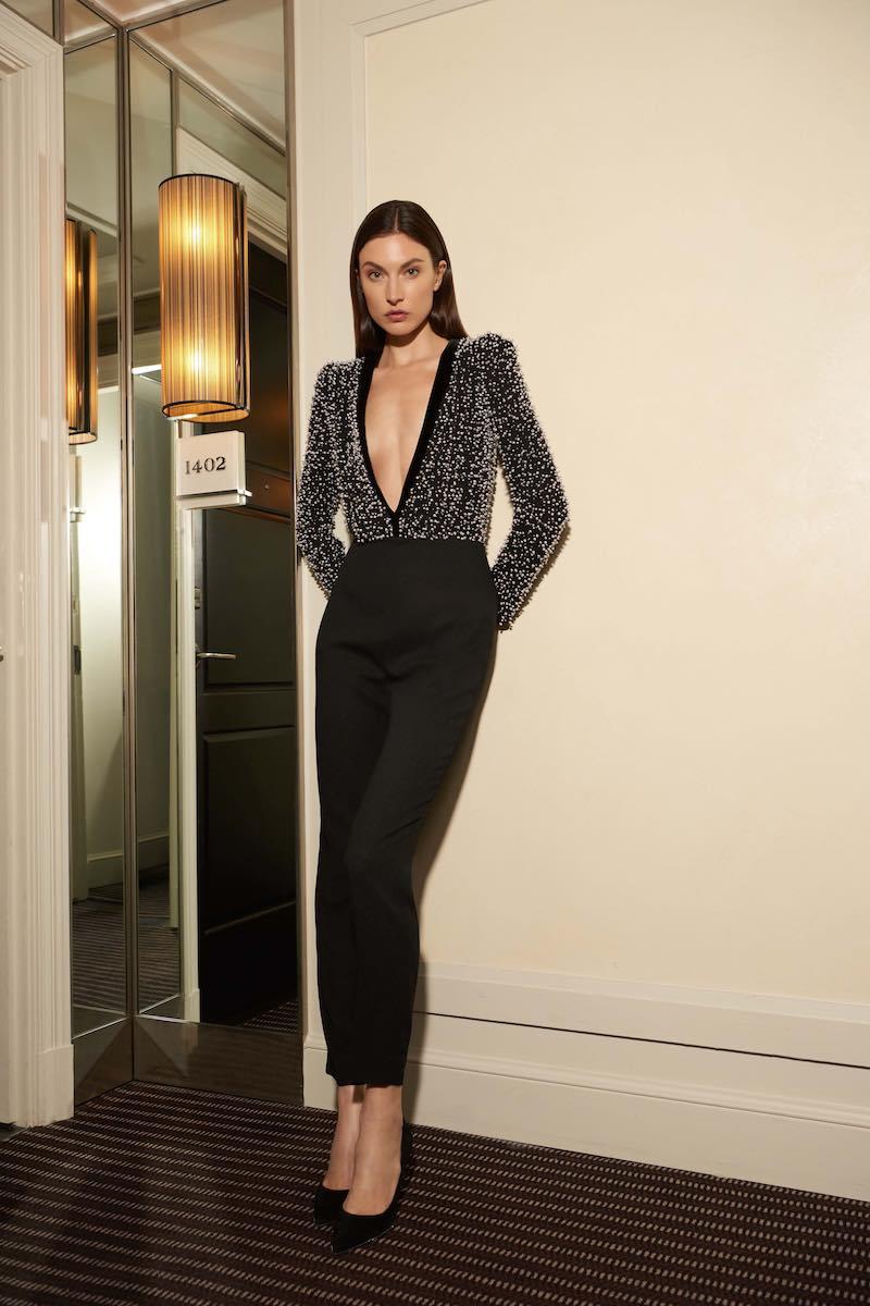 Givenchy Pearl-Embellished Deep-V Jumpsuit