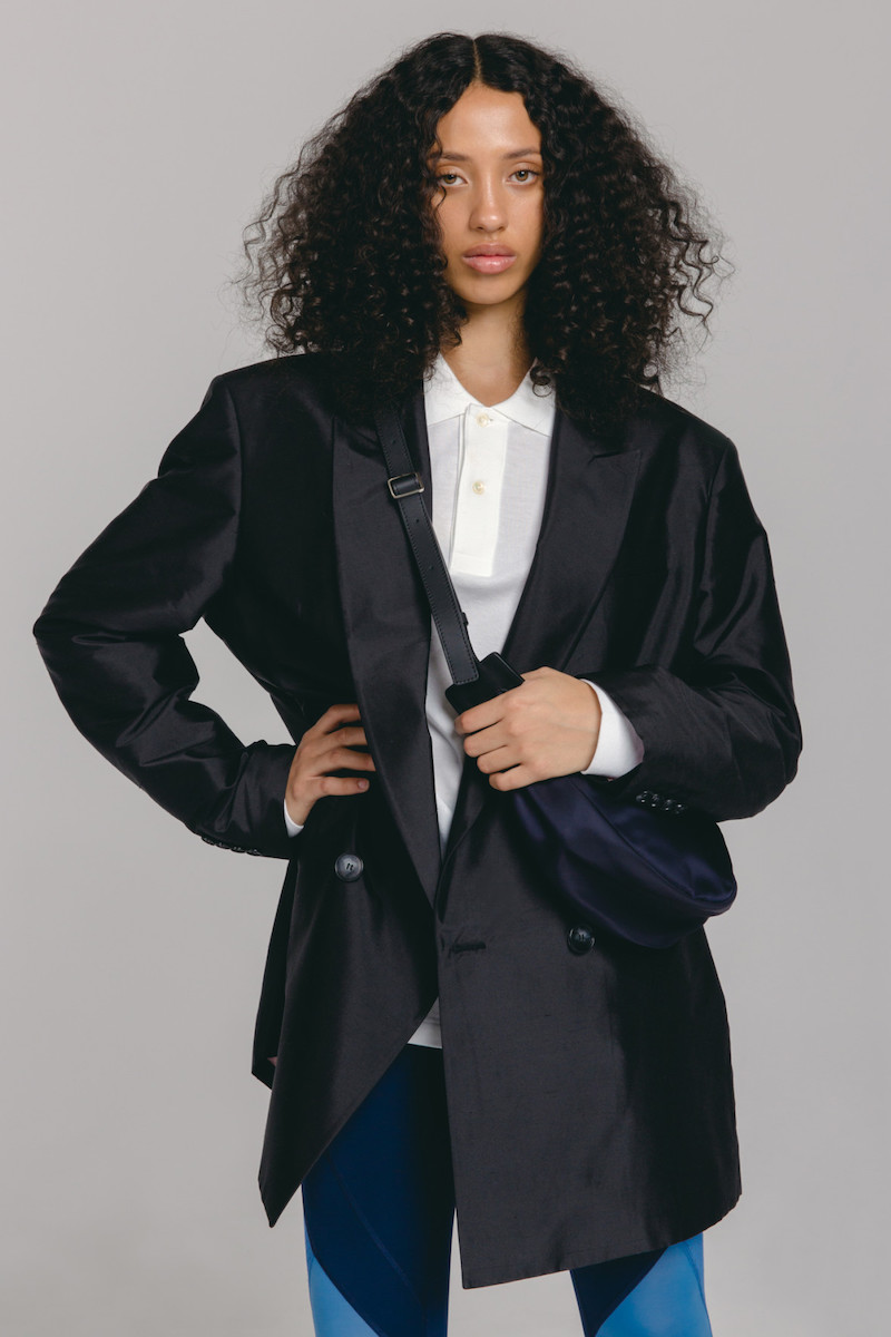 Marques Almeida Black Silk Oversized Blazer